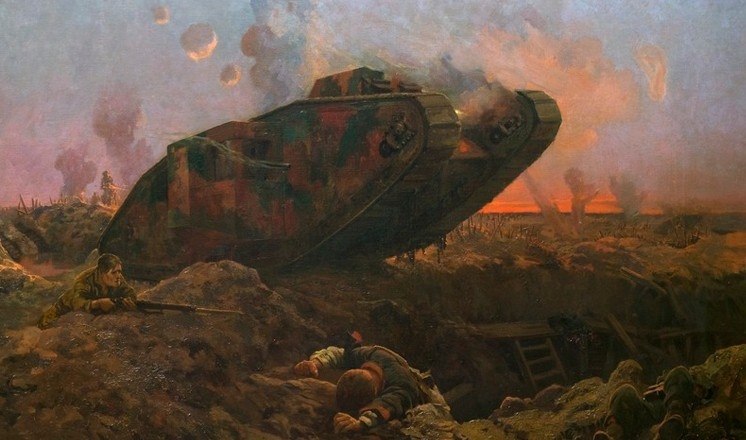 'A Tank in Action' by John Hassall (Usher Gallery collection)