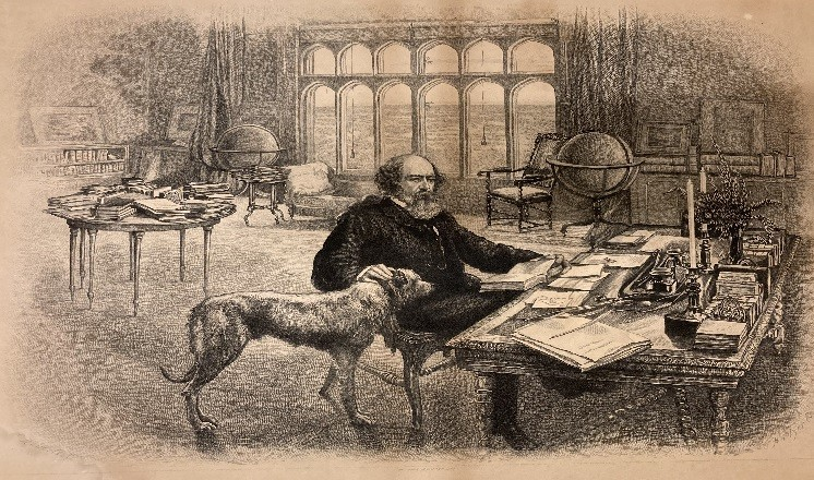 Courtesy of Lincolnshire Archives. C. Roberts, 'Lord Tennyson in his study at Aldworth 1885'; S Hollyer/The Daily Graphic 1892