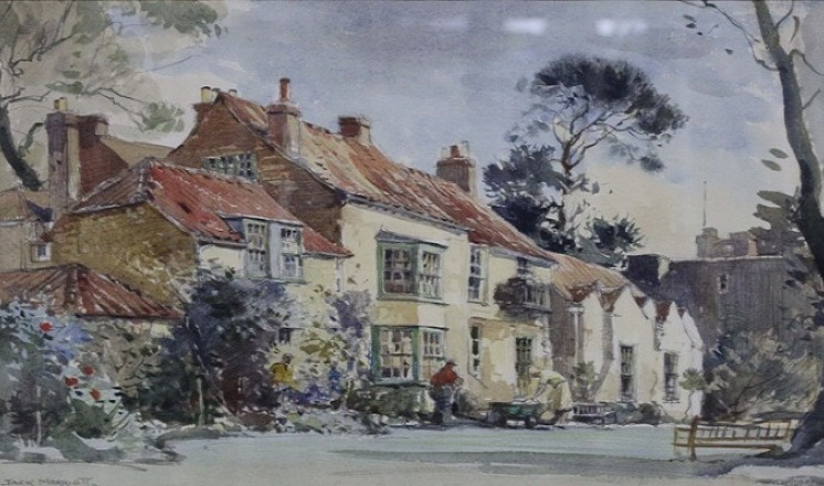 Somersby Rectory, birthplace of Alfred, Lord Tennyson. Watercolour on paper by Jack Merriott, circa 1955 (Usher Gallery)