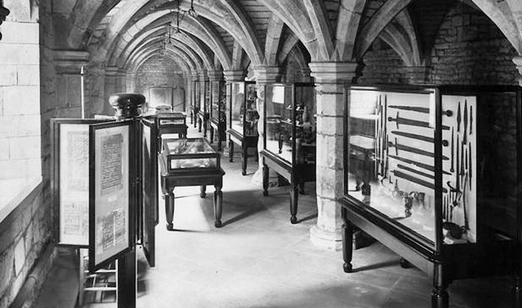 The interior of the museum at Greyfriars