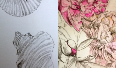 Elizabeth John: I mainly draw botanical still life but enjoyed branching off with this drawing. Drawing has been therapeutic during lockdown