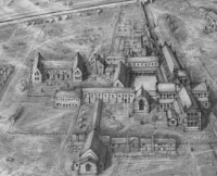 David Vale's reconstruction of Bardney Abbey in 1536 (image subject to copyright)